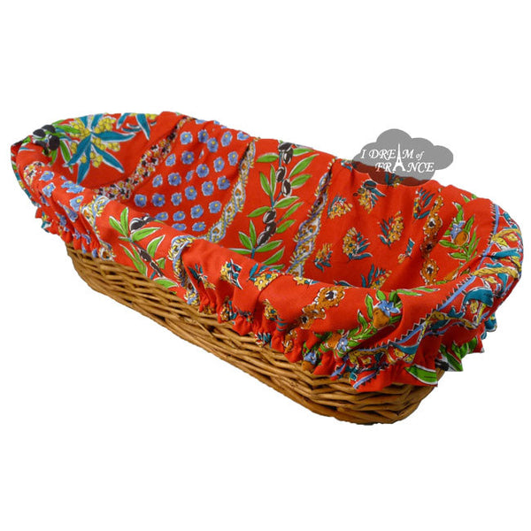Olives Red French Baguette Basket with Removable Liner by Le Cluny
