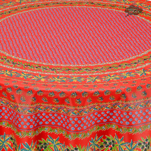 "70"" Round Olives Red Cotton Coated Provence Tablecloth by Le Cluny - Close up"
