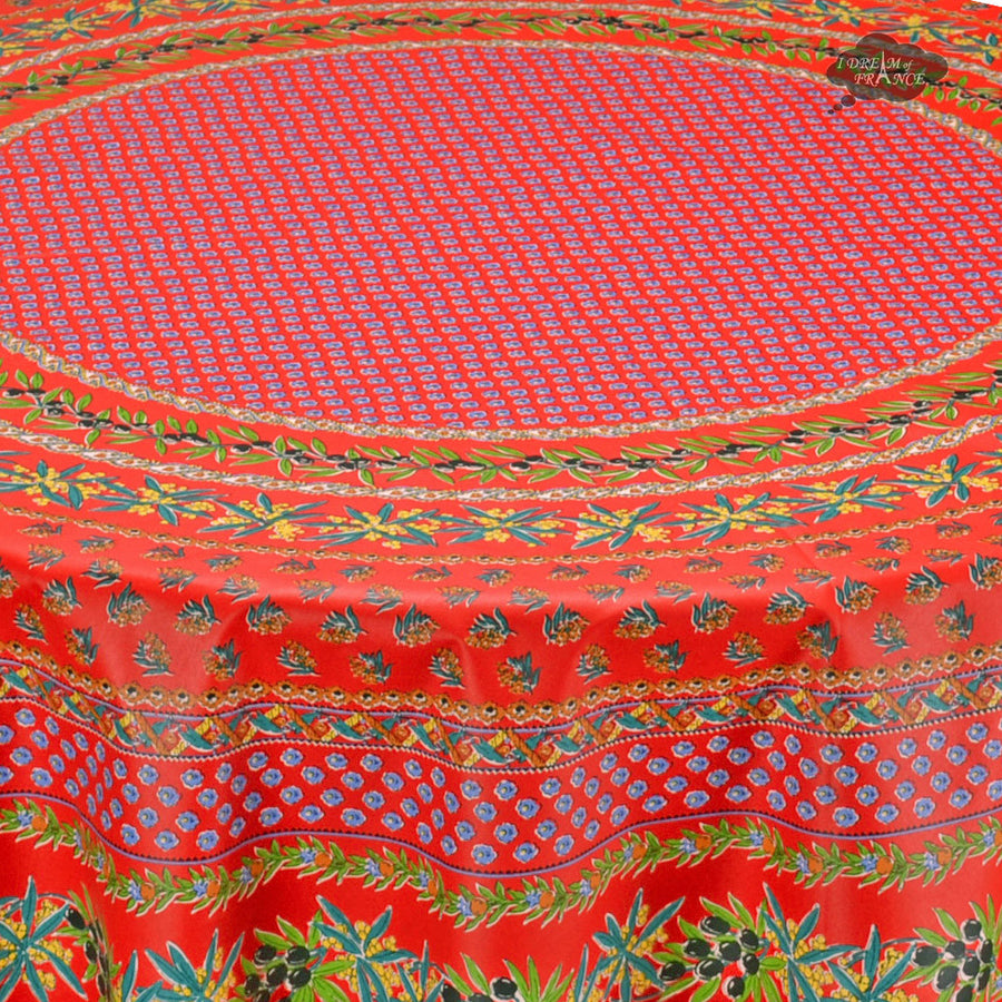 "70"" Round Olives Red Cotton Coated Provence Tablecloth by Le Cluny"