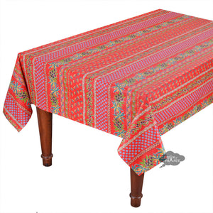 "60x108"" Rectangular Olives Red Cotton Coated Provence Tablecloth by Le Cluny"