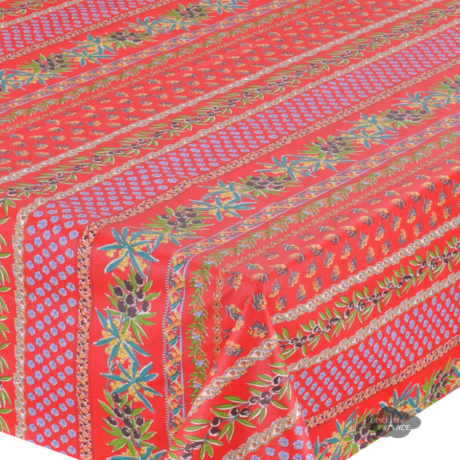 "52x72"" Rectangular Olives Red Cotton Coated Provence Tablecloth by Le Cluny"