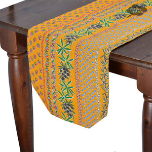"14x72"" Olives Yellow Cotton Coated Provence Table Runner by Le Cluny"