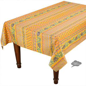 "60x120"" Rectangular Olives Yellow Cotton Coated Provence Tablecloth by Le Cluny"