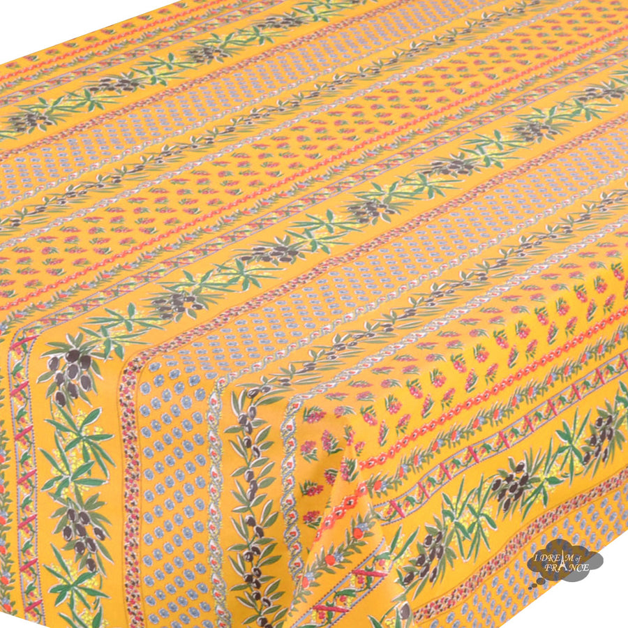 "58"" Square Olives Yellow Cotton Coated Provence Tablecloth by Le Cluny"