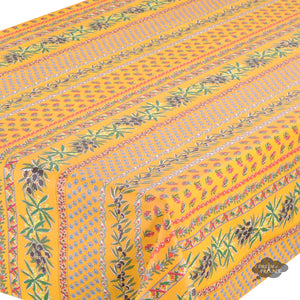 "60x84"" Rectangular Olives Yellow Cotton Coated Provence Tablecloth by Le Cluny"