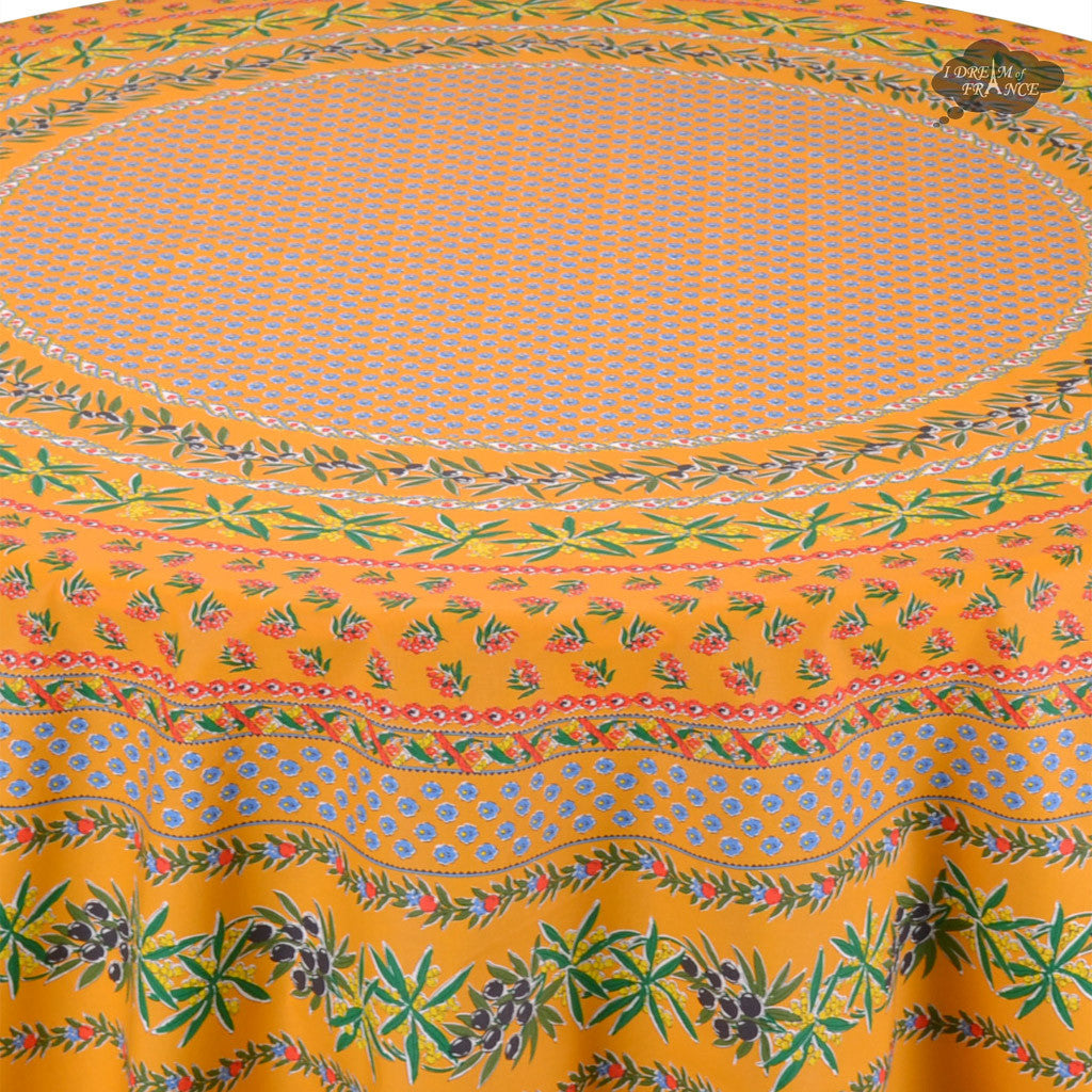 "68"" Round Olives Yellow Cotton Coated Provence Tablecloth by Le Cluny - Close Up"