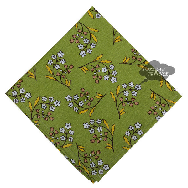 Petite Fleur Green Cotton Napkin by Le Cluny