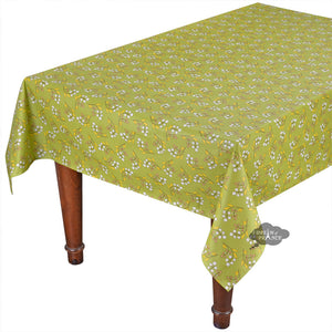 "58"" Square Petite Fleur Green Cotton Coated Tablecloth by Le Cluny"
