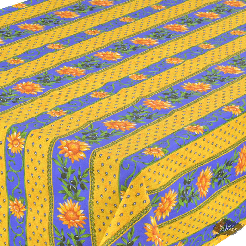 "58"" Square Sunflower Blue Cotton Coated Provence Tablecloth- Close Up"
