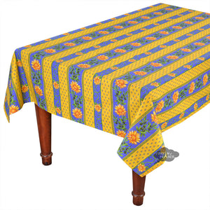 "60x108"" Rectangular Sunflower Blue Cotton Coated Provence Tablecloth by Le Cluny"