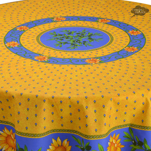 "68"" Round Sunflower Blue Cotton Coated Provence Tablecloth - Close Up"