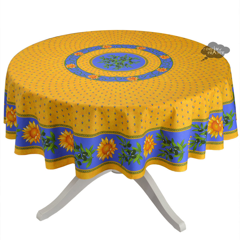 "68"" Round Sunflower Blue Cotton Coated Provence Tablecloth by Le Cluny"