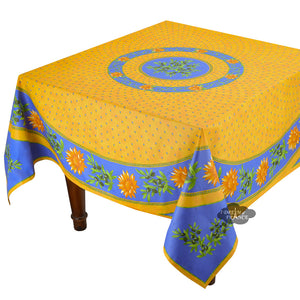 "70"" Square Sunflower Blue Cotton Coated Provence Tablecloth by Le Cluny"