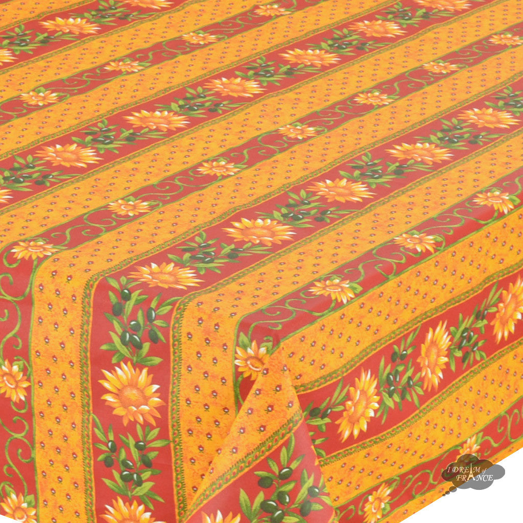 "60x 96"" Rectangular Sunflower Red Cotton Coated Provence Tablecloth - Close Up"