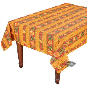 "58"" Square Sunflower Red Cotton Coated Provence Tablecloth by Le Cluny"