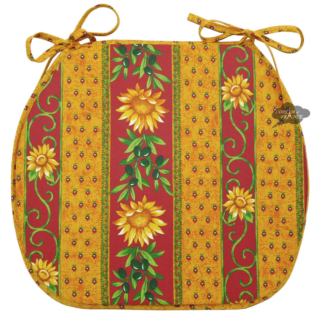 Sunflower Red Coated French Style Chair Pad by Le Cluny
