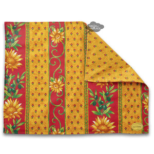 Sunflower Red Coated Reversible Placemat by Le Cluny