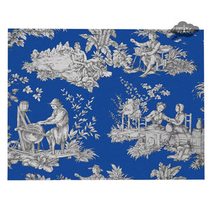 Villandry Blue French Toile Coated Reversible Placemat by Le Cluny