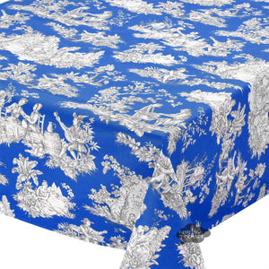 "60x132"" Rectangular Villandry Blue Toile Cotton Coated Provence Tablecloth by Le Cluny"