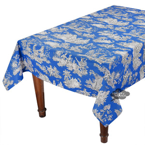 "60x 96"" Rectangular Villandry Blue Toile Cotton Coated Provence Tablecloth by Le Cluny"