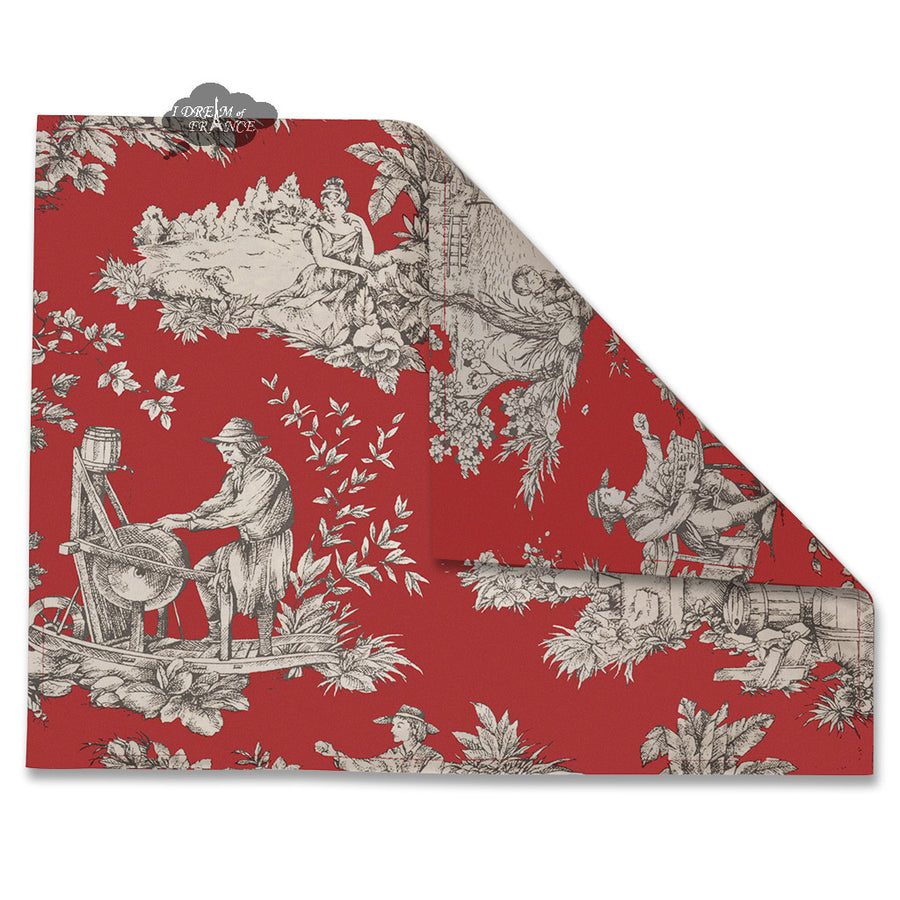 Villandry Red Toile Coated Reversible Placemat by Le Cluny