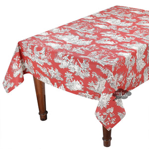 "60x132"" Rectangular Villandry Red Toile Cotton Coated Provence Tablecloth by Le Cluny"