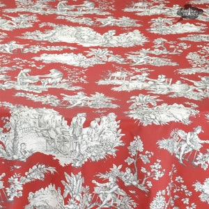 "60x120"" Rectangular Villandry Red Toile Cotton Coated Provence Tablecloth by Le Cluny"