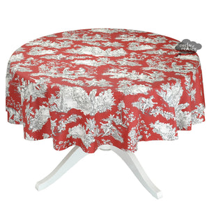 "70"" Round Villandry Red Toile Cotton Coated French Tablecloth by Le Cluny"