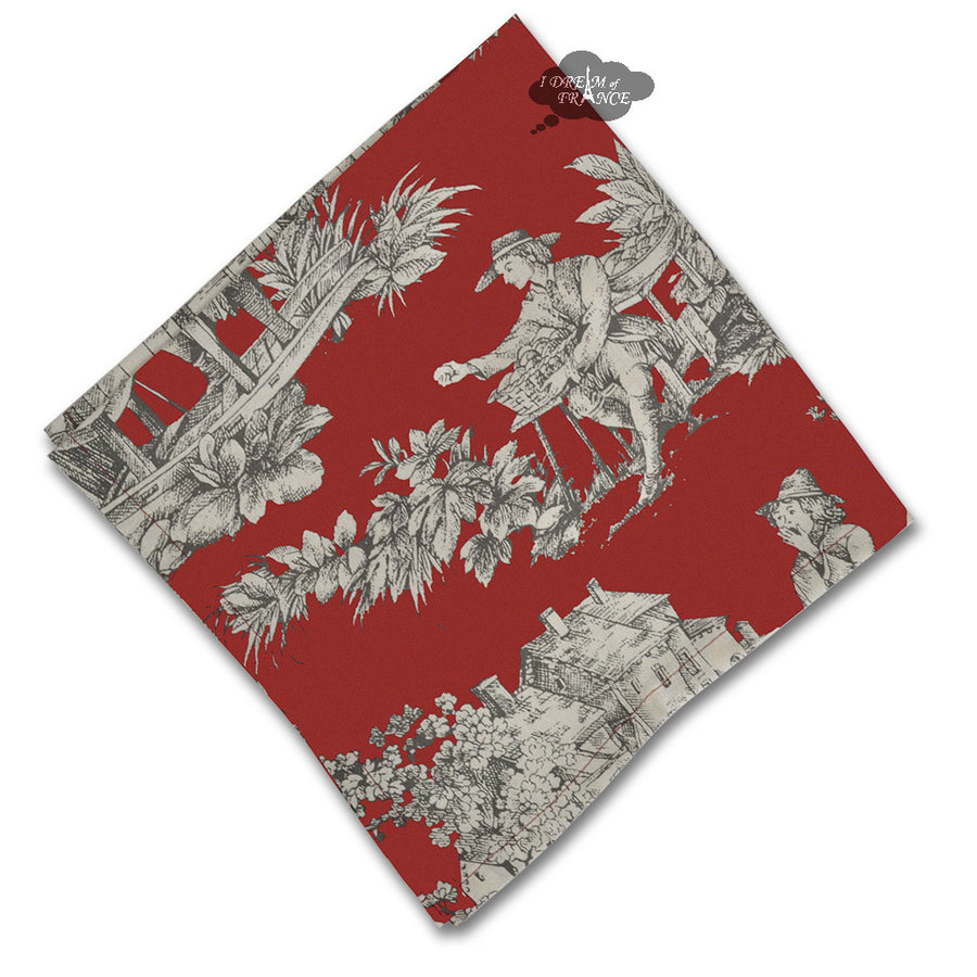 Villandry Red French Toile Cotton Napkin by Le Cluny