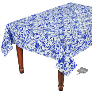 "58"" Square Versailles Blue Cotton Coated French Tablecloth by Le Cluny"