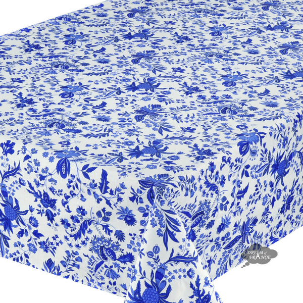 "60x132"" Rectangular Versailles Blue Cotton Coated Provence Tablecloth by Le Cluny"