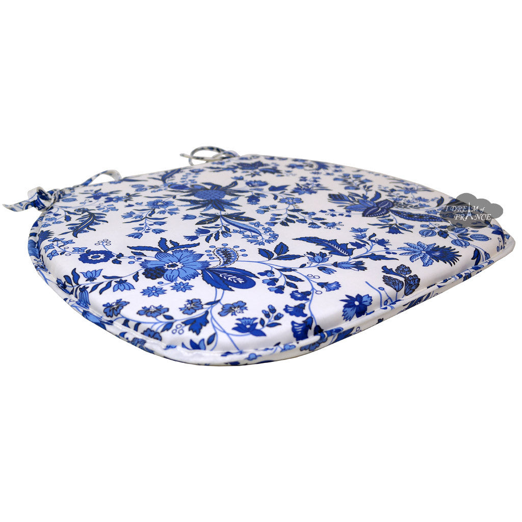 Versailles Blue Coated French Style Chair Pad by Le Cluny