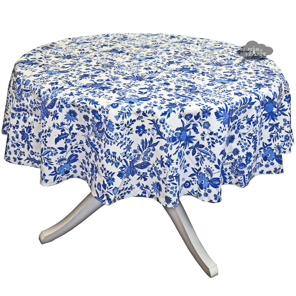 "90"" Round Versailles Blue Cotton Coated Provence Tablecloth by Le Cluny"