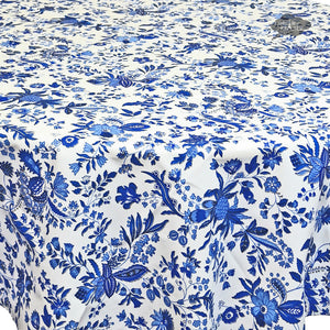 "68"" Round Versailles Blue Cotton Coated French Tablecloth - Close Up"