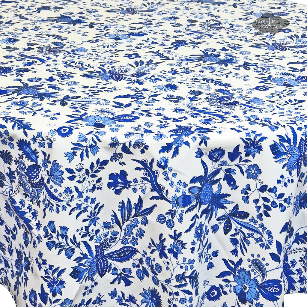 "90"" Round Versailles Blue Cotton Coated Provence Tablecloth - Close Up"