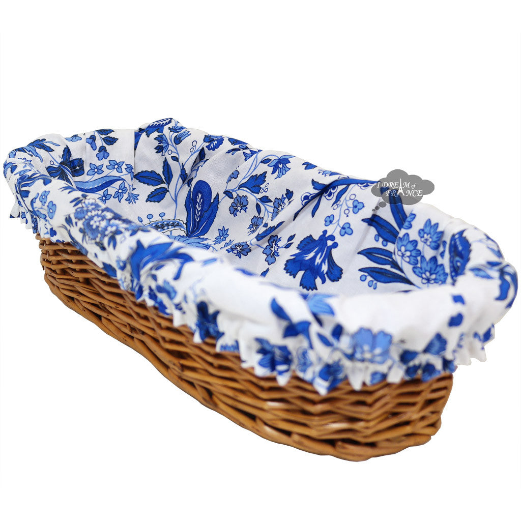 Versailles Blue French Bread Basket W Removable Liner I