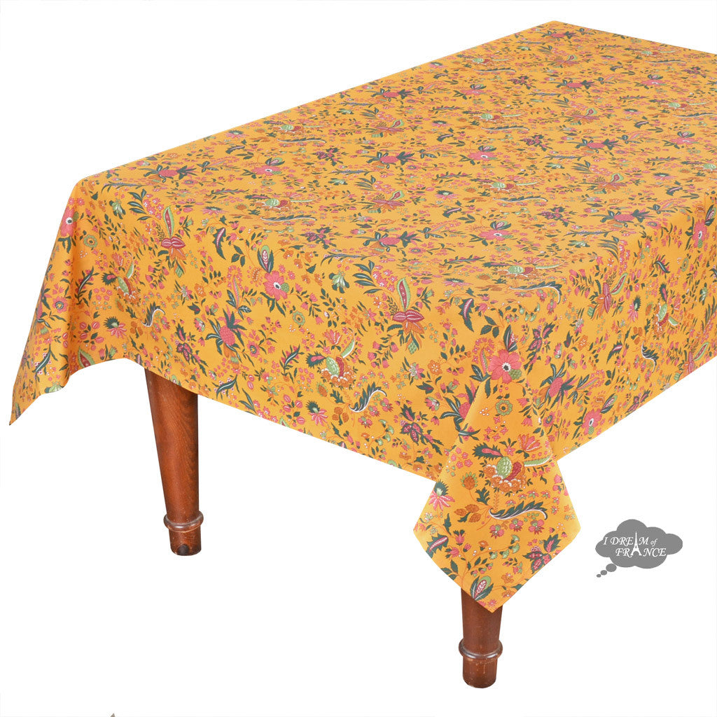 "60x 96"" Rectangular Versailles Yellow Cotton Coated French Tablecloth by Le Cluny"