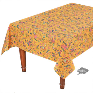 "60x120"" Rectangular Versailles Yellow Cotton Coated Provence Tablecloth by Le Cluny"