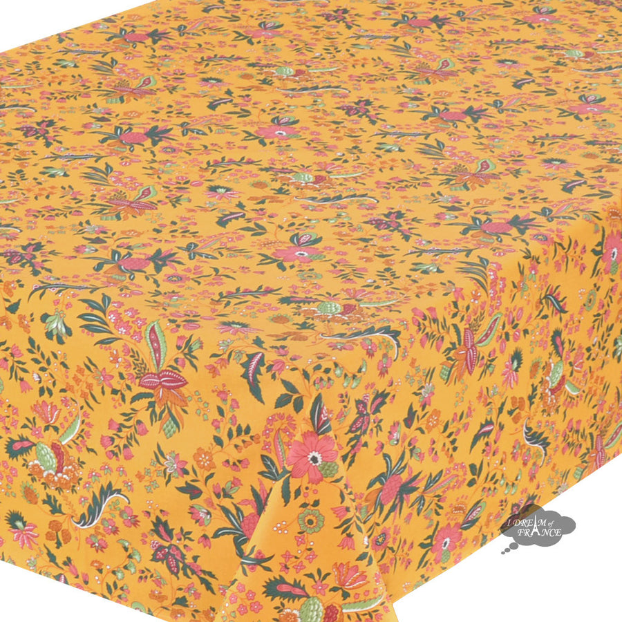 "52x72"" Rectangular Versailles Yellow Cotton Coated French Tablecloth by Le Cluny"