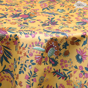 "70"" Round Versailles Yellow Cotton Coated French Jacobean Tablecloth by Le Cluny"