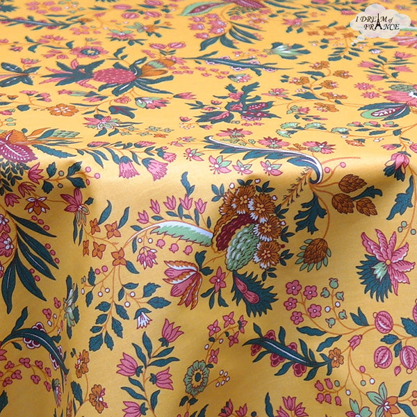 "68"" Round Versailles Yellow Cotton Coated French Jacobean Tablecloth by Le Cluny"