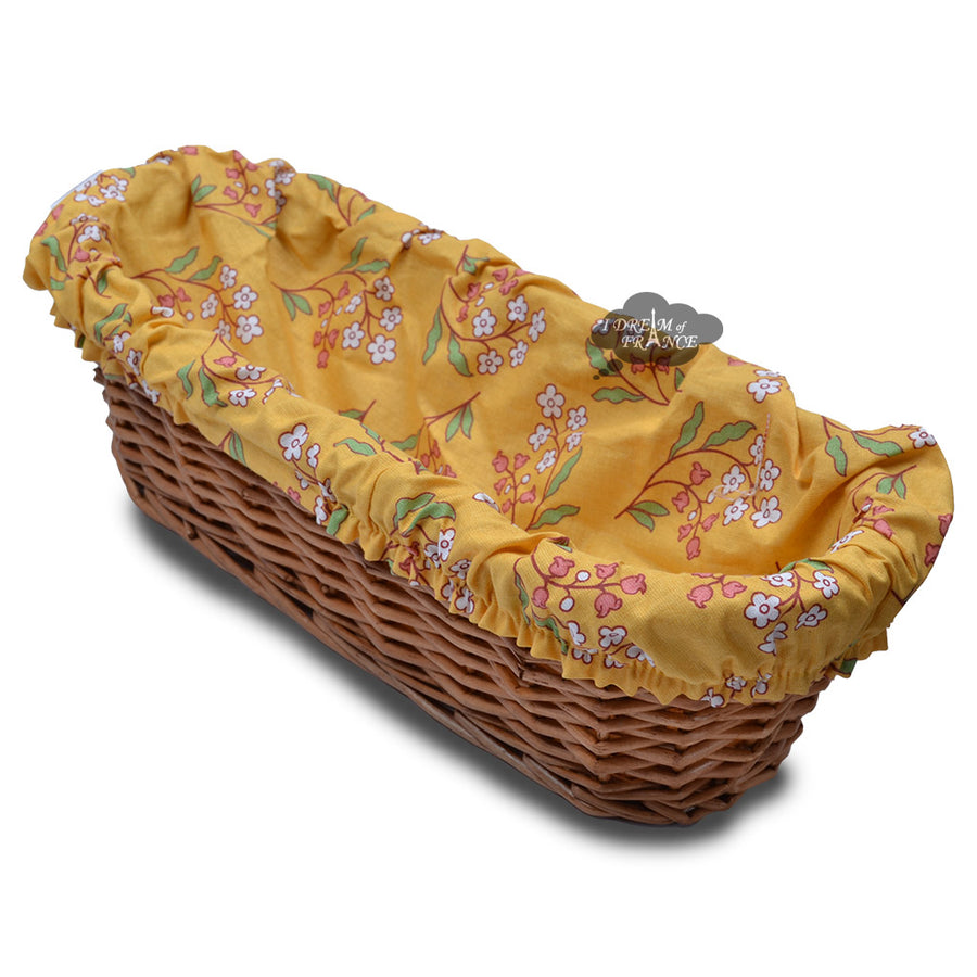 Petite Fleur Yellow French Baguette Basket with Removable Liner by Le Cluny