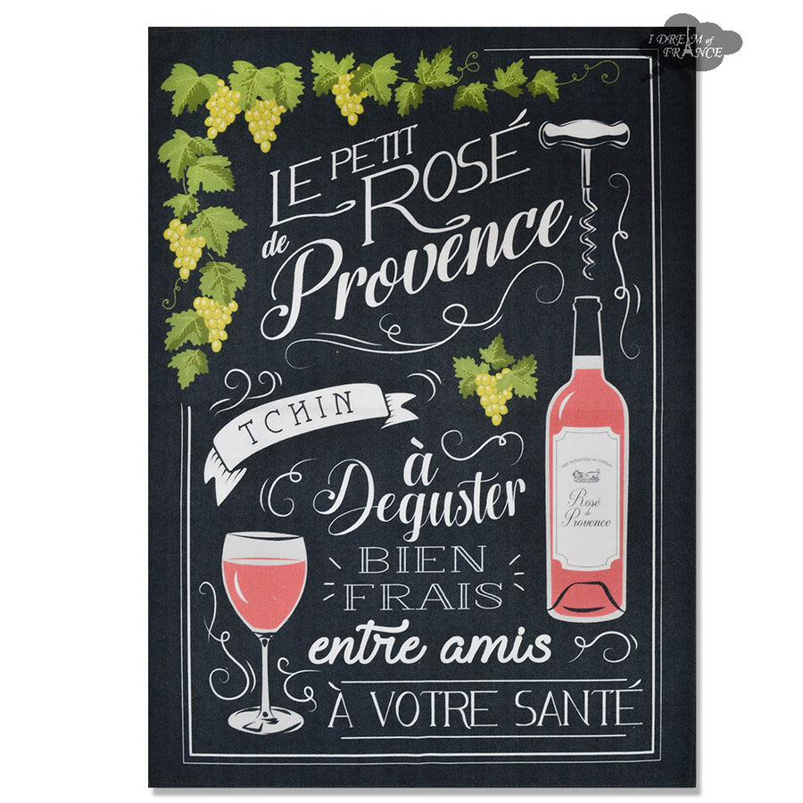 Rosé de Provence Black French Kitchen Towel by L'Ensoleillade