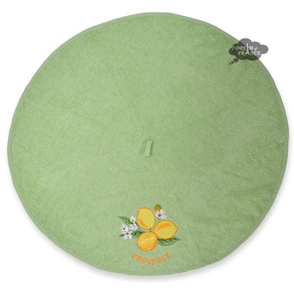Round Terry Hand Towel Lemons Green by Tissus Toselli