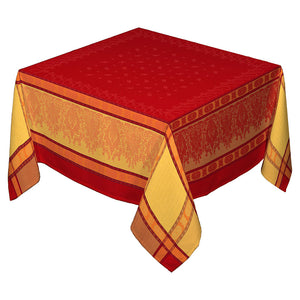 "62"" Square Arlesienne Red French Jacquard Tablecloth with Teflon"