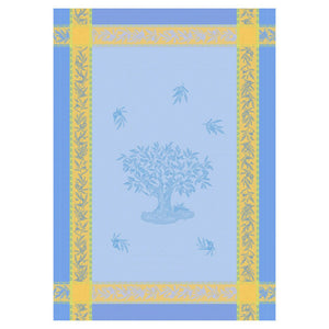 Branche d'Olivier Blue Cotton French Jacquard Dish Towel by Les Tissages du Soleil