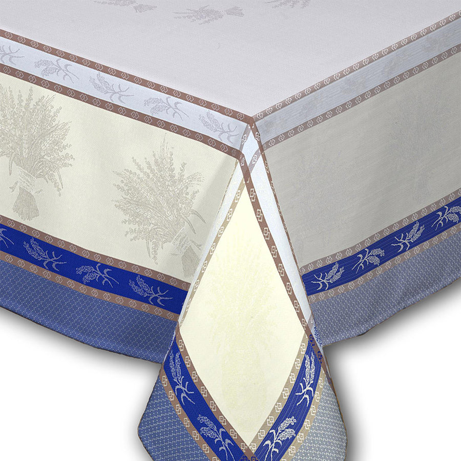"62"" Square Cannes Azure French Jacquard Tablecloth with Teflon by Les Tissages du Soleil"