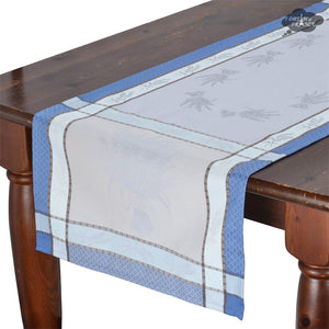 "20x64"" Cannes Azure French Jacquard Table Runner with Teflon"