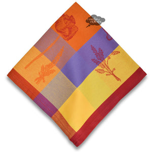 Poppies Orange French Jacquard Cotton Napkin