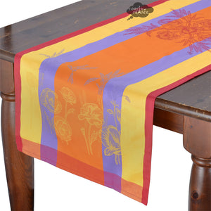 "20x64"" Poppies Orange French Jacquard Table Runner with Teflon"